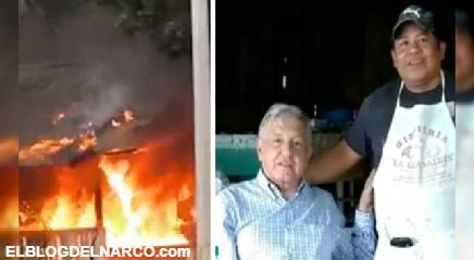 Queman restaurante y ejecutan a dueño, el Presidente Obrador desayunó en ese lugar