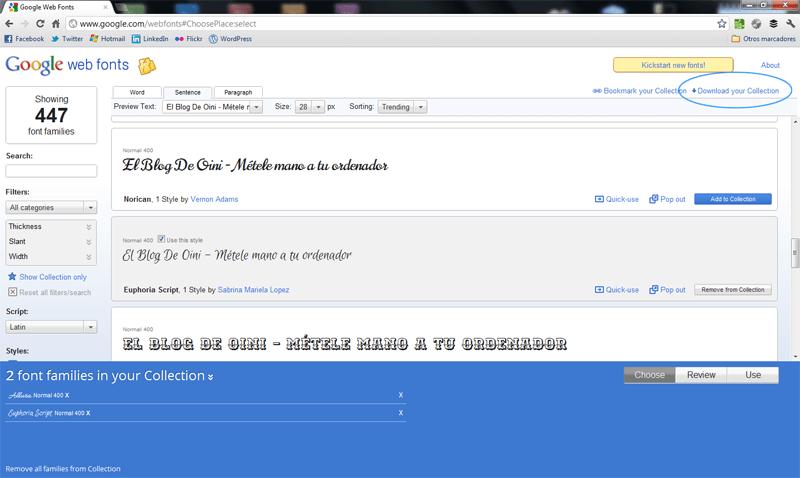 Cómo descargar fuentes gratis de Google Web Fonts (5/6)