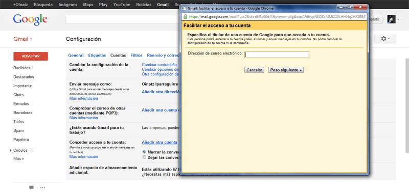 Cómo configurar la delegación del correo electrónico en Gmail (5/6)