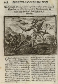 """On Kixote Mantxakoa Irudidun lehenengo argitalpen espainiarraren marrazkia, 1674 Iturria: """"Kixoteren irudi-bankua www.qbi2005.com"""""""