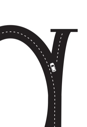 Detail shot of car illustration in the letter 'g'.