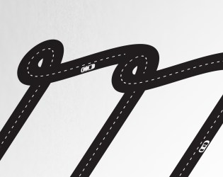 Detail shot of car illustration in the letter 'm'.