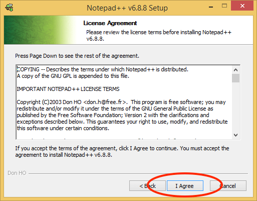 Notepad++ License Agreement