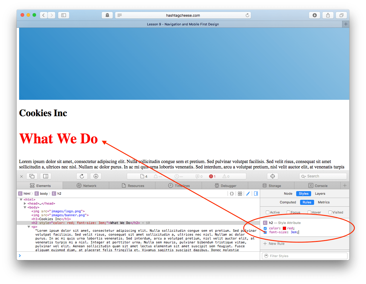 Safari Inspect Element showing CSS with color set to font size 3 em