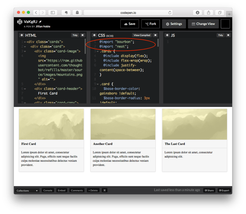 CodePen with Sass