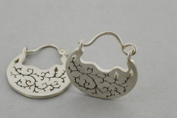 Silver bramble earrings