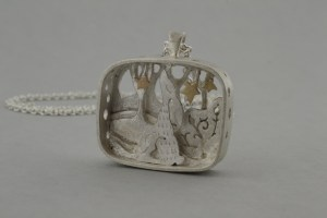 Hare and stars in silver and gold