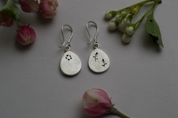 Silver earrings backs with flowers