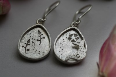 Fox silver earrings