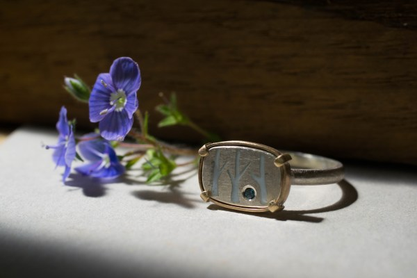 Birch tree ring with forget me nots