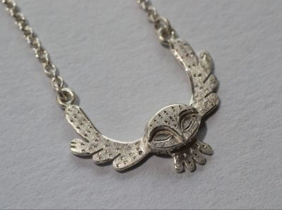 Flying owl necklace side view