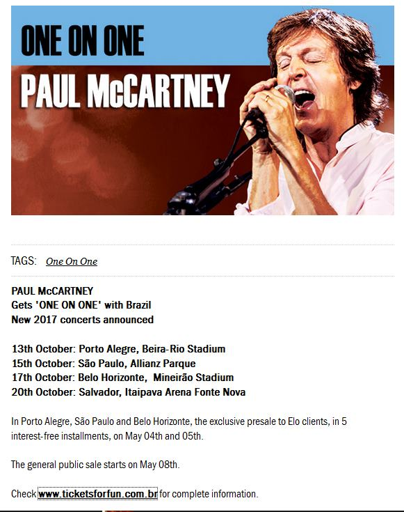 Paul McCartney confirma show em Salvador Tour One on One