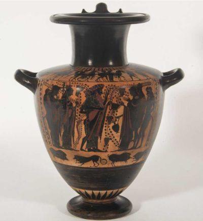 La pieza representa el banquete en la Antigua Grecia