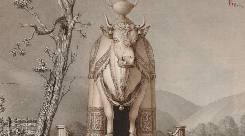 Diseño de Jean-Jacques Lequeu de un establo en forma de vaca
