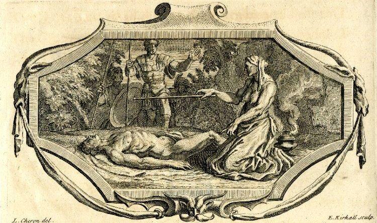 Ericto, Louis Chéron y Elisha Kirkall, 1718, que ilustra la historia de Lucano que sirvió de inspiración para el Frankenstein de Shelley.