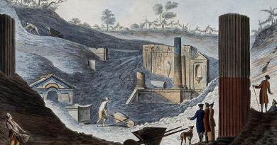 - Vista del Teatro Grande de Pompeya, de Jakob Philipp Hackert, 1793.