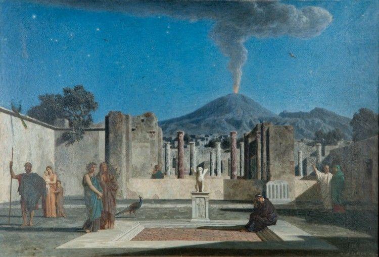 Cuadro de Curzon donde representa a los espectros de Pompeya apareciéndose entre las ruinas.