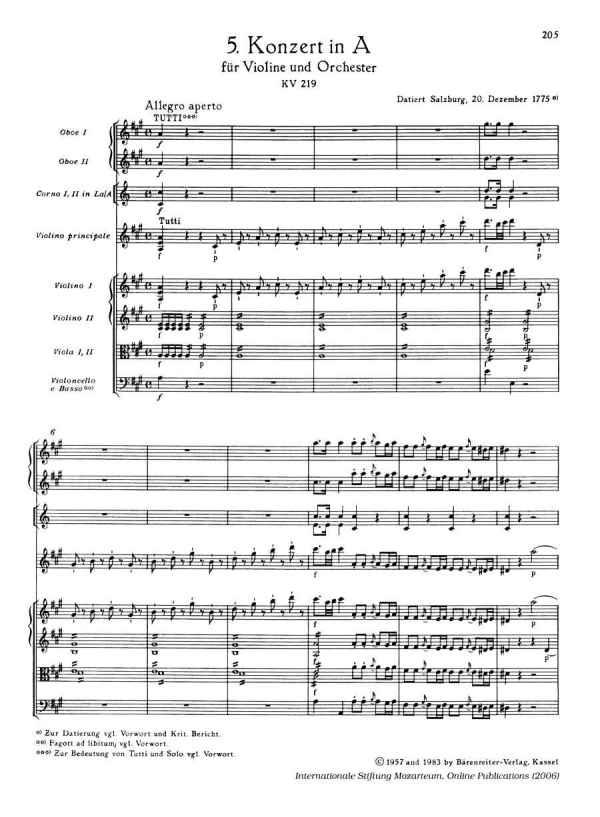 Partitura concierto 5 àra violín de Mozart