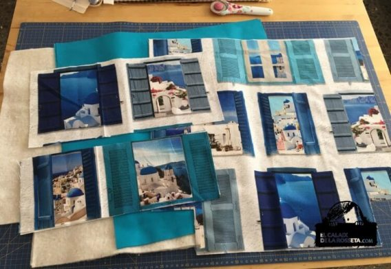 Bolsa tipo capazo en estampado Santorini
