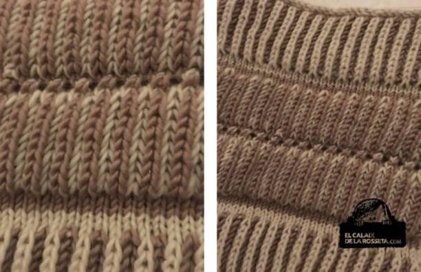 Cuello en punto brioche en 2 colores y agujas circulares, incluyo patrón en castellano