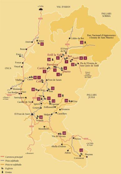 Mapa de iglésias románicas del Valle de Boí