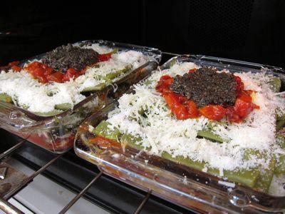 Gratinado de habicholillas con tapenade vegetariano.