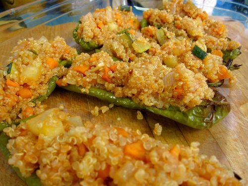 Pimientos verdes rellenos de quinoa con verduritas 14