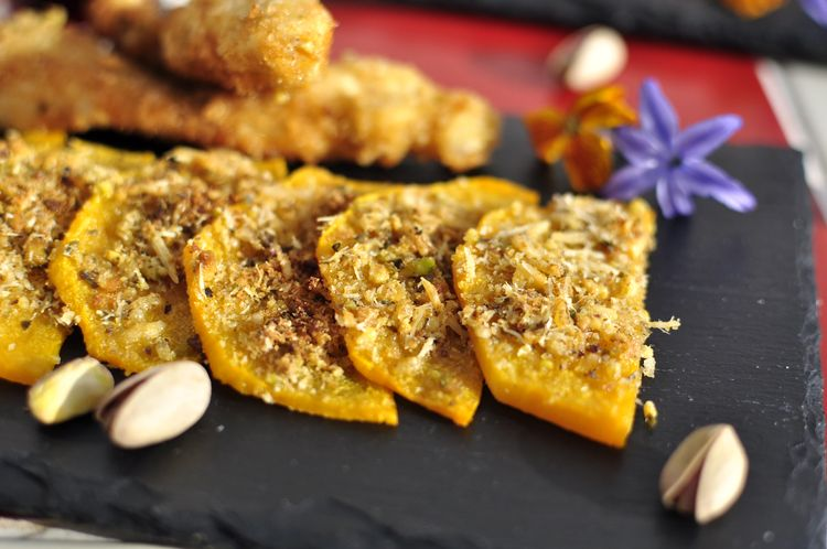 calabaza al horno con especias y pistachos
