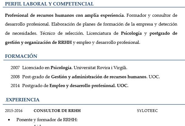 Ejemplo De Curriculum Con Poca Experiencia En La Profesion