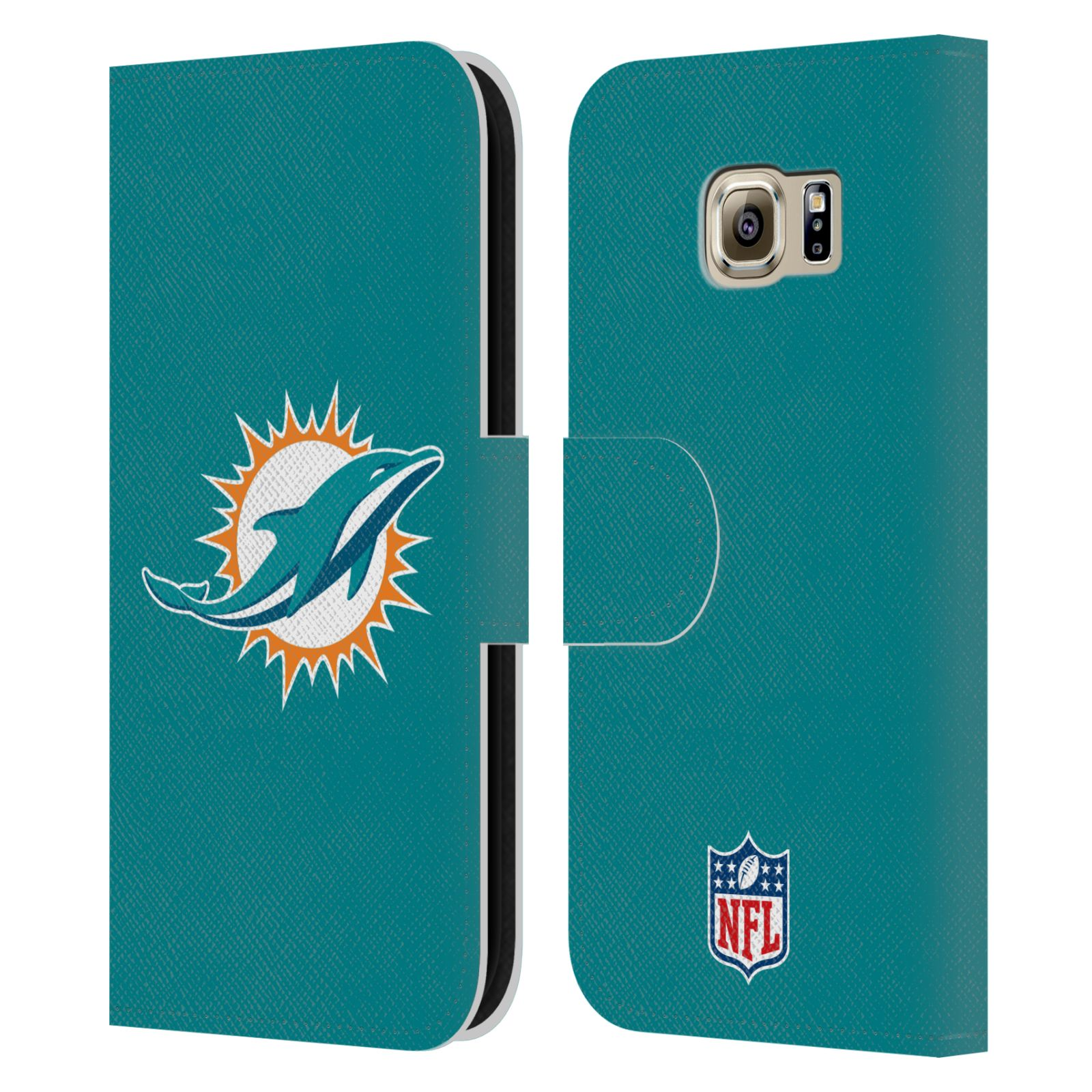 Official Nfl Miami Dolphins Logo Leather Book Wallet Case