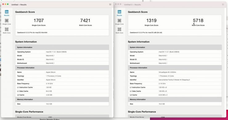 Geekbench 5.3 Apple M1 nativo vs Rosetta2