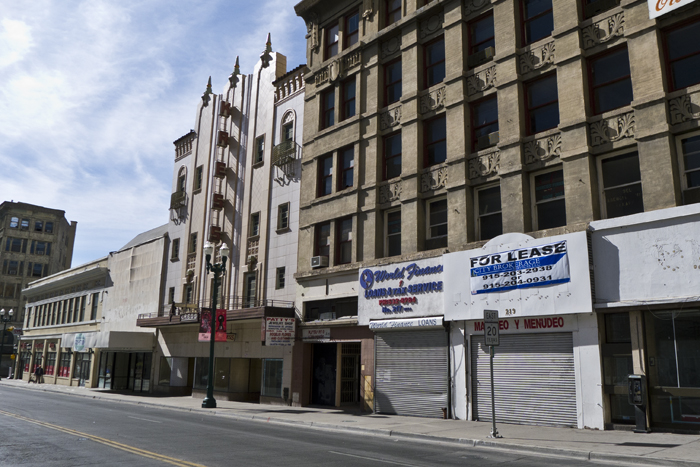 Empty storefronts in downtown El Paso