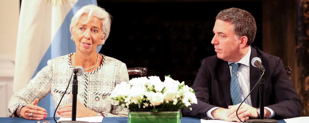La directora jefe del FMI, Christine Lagarde, y el ministro de Hacienda, Nicolás Dujovne.