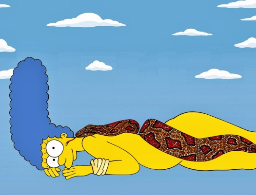 Marge Simpson as Nastassja Kinski and the Serpent, June 14, 1981 by Richard Avedon Iconic Shots Art Fashion Luxury Satire Illustration Cartoon Painting The Simpsons Humor Chic by aleXsandro Palombo (2)