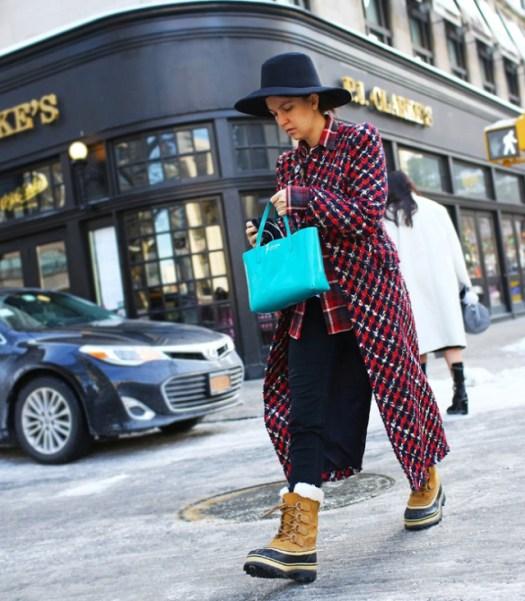 Martha Violante . coat de junya watanabe, hat, bag, sorel boots