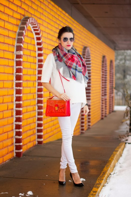 White and Tartan Scarf