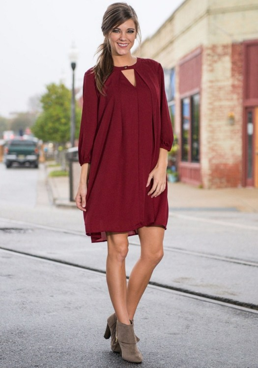 2015-New-Fashion-Women-Causal-Dresses-Three-Quarter-Sleeve-V-neck-Loose-Dress-wine-red-color
