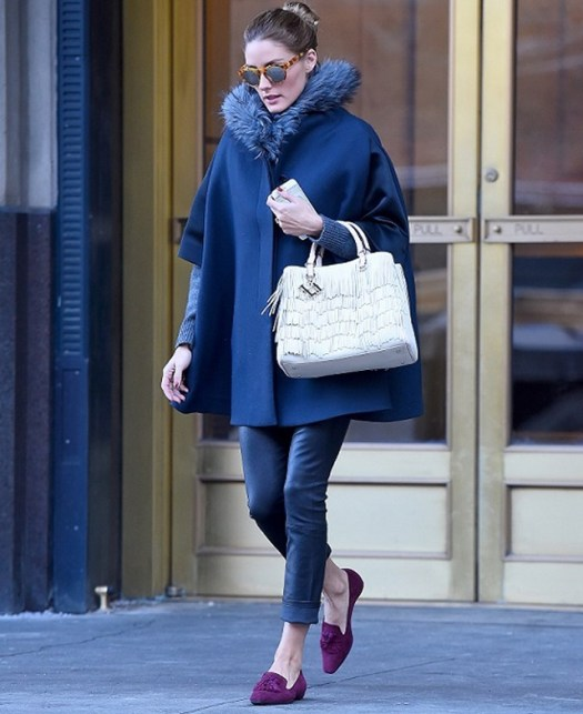 EXCLUSIVE: Olivia Palermo seen wearing a blue cape and purple shoes in Brooklyn, New York