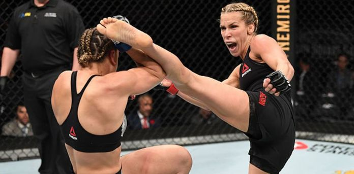 Katlyn Chookagian comes from beating Jennifer Maia. (Getty Images)