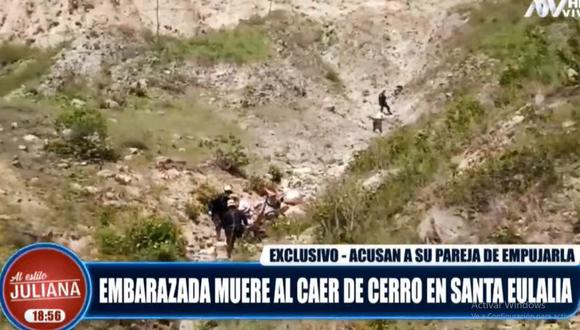 La Policía rescató el cuerpo de Milagros Chávez tras caer de un cerro de Santa Eulalia. (ATV)