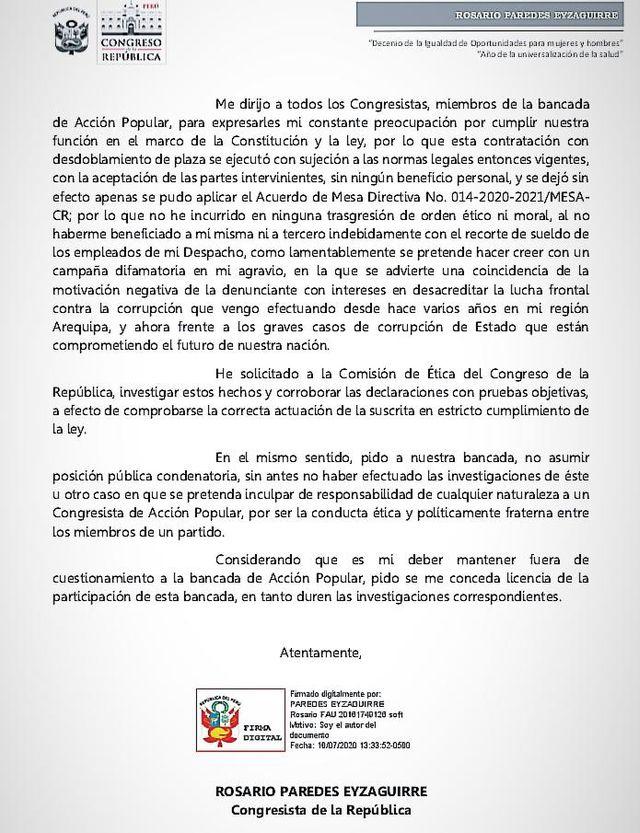 Legisladora Rosario Paredes fue separada de Acción Popular mientras duren las investigaciones en su contra.