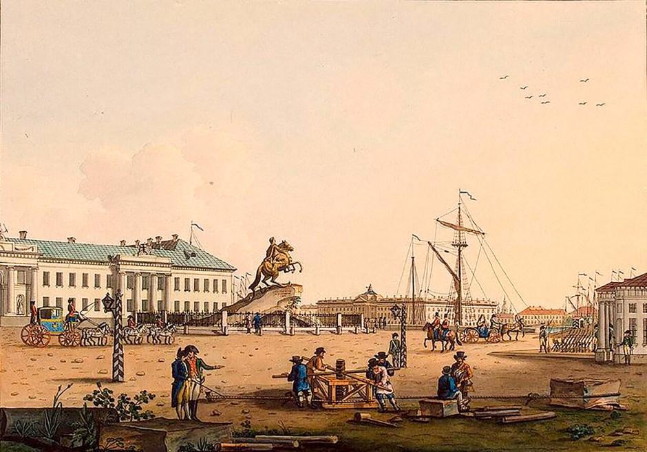La plaza Senátskaia en San Petersburgo, obra de K. Ludwig Museo del Hermitage