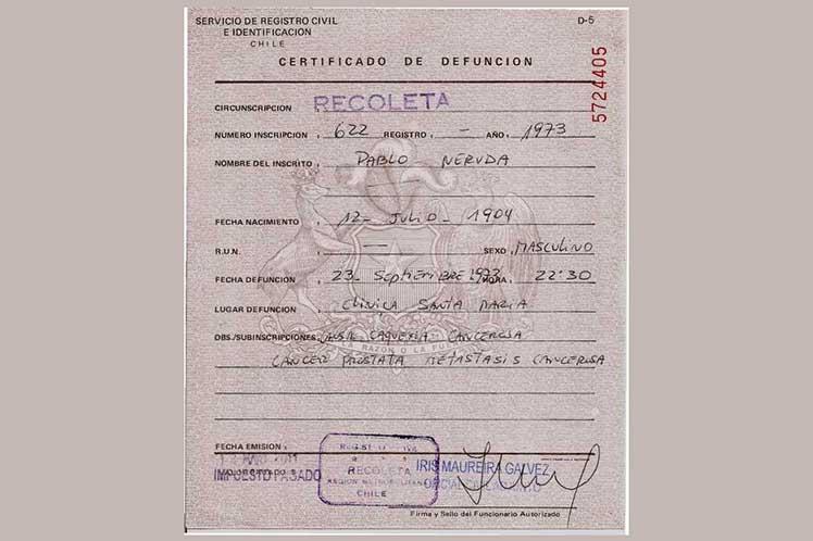 Certificado de defunción falseado en muerte de Neruda – elcomunista.net