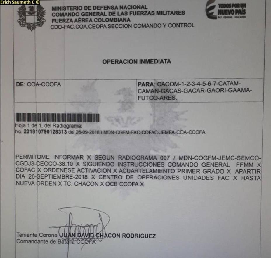 Un radiograma, atribuido al Comando General de las Fuerzas Militares de Colombia