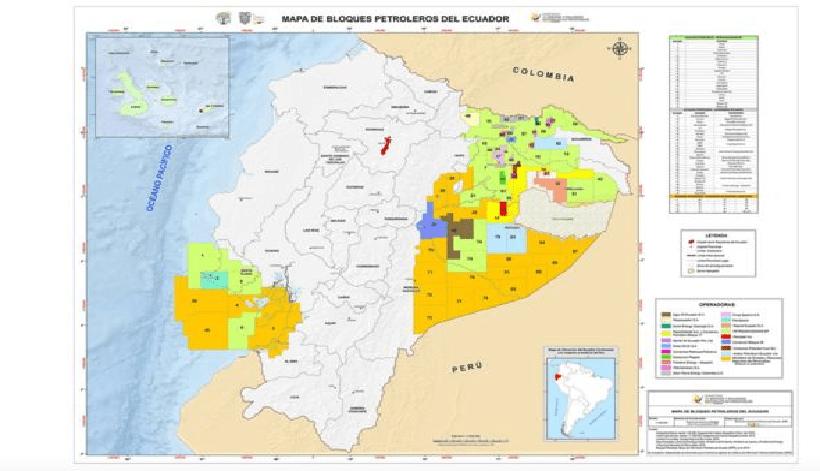 Al este de Ecuador se ven los bloques petroleros en la región amazónica