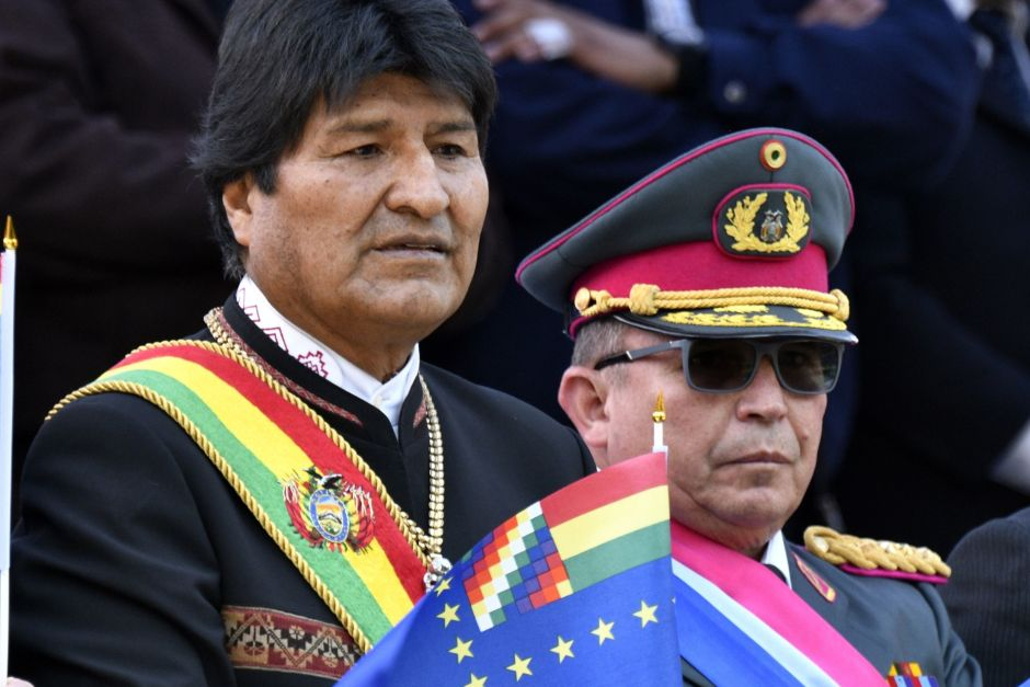 Evo Morales y Williams Kaliman, durante la celebración del 140 aniversario de la Batalla de Calama, en La Paz, el 23 de marzo de 2019