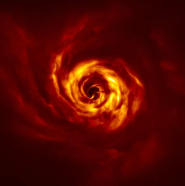 Imagen del espiral de gas y polvo formado alrededor de la estrella AB Aurigae