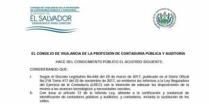 comunicado cvpcpa sobre las reformas a ley de contaduria publica el salvador