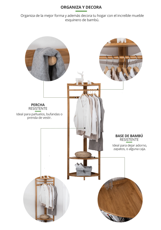 Mueble esquinero bambu Perchero de madera