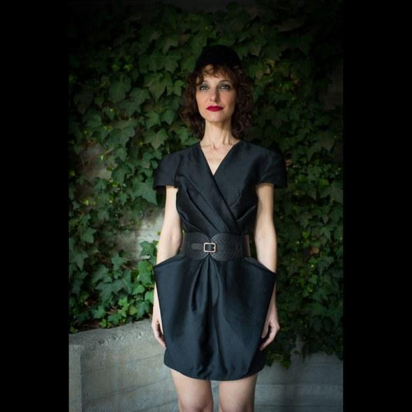fajin vestido fiesta AVA cuero negro